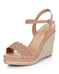 Wide Fit Nude Suedette Floral Laser Cut Out Wedge Sandals  | New Look