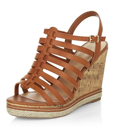 Wide Fit Tan Caged Contrast Wedges  | New Look