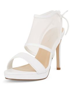 White Mesh Panel Tie Back Heeled Sandals  | New Look