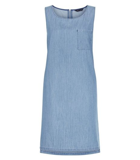 Light Blue Denim Single Pocket Swing Dress | New Look