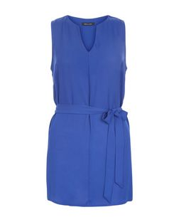 Blue Notch Neck Belted Sleeveless Blouse   | New Look