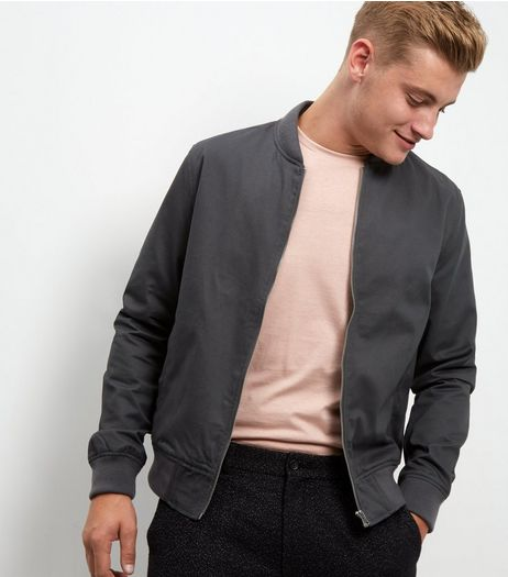 Grey Cotton Bomber Jacket  | New Look