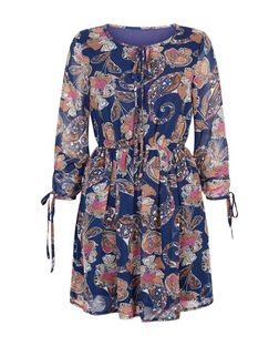 Mela Blue Paisley Print Long Sleeve Dress | New Look