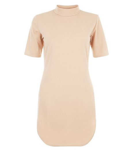 Cameo Rose Stone Turtle Neck Dip Hem Dress | New Look