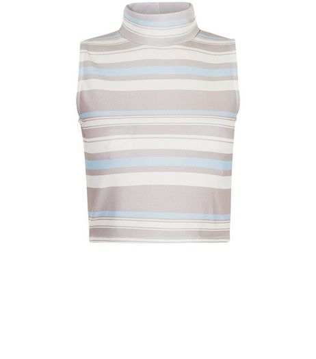 Cameo Rose Blue Stripe Funnel Neck Crop Top  | New Look
