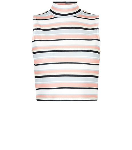 Cameo Rose Pink Stripe Funnel Neck Crop Top  | New Look