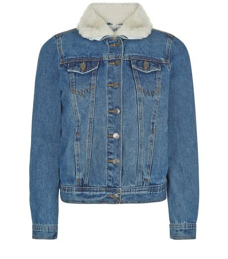 Teens Blue Borg Lined Denim Jacket | New Look