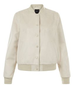 Stone Suedette Bomber Jacket  | New Look