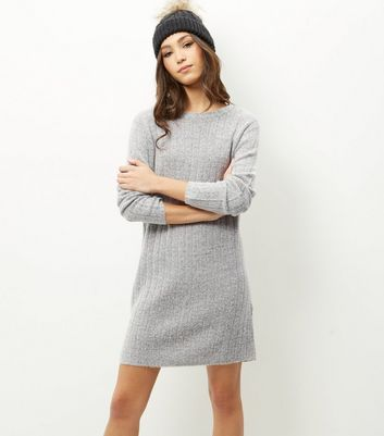 Product photo of Jdy grey ribbed long sleeve dress