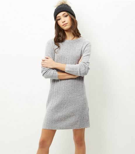 JDY Grey Ribbed Long Sleeve Dress | New Look