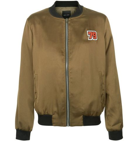 Khaki Sateen 79 Badge Bomber Jacket  | New Look