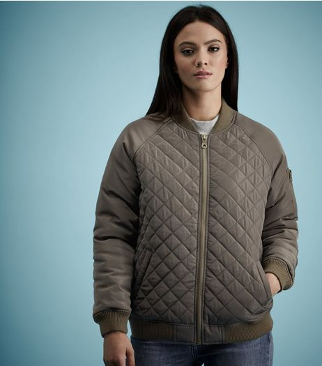 Khaki Quilted Panel Bomber Jacket  | New Look