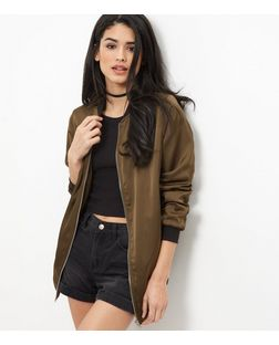 Khaki Sateen Longline Bomber Jacket  | New Look