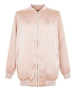 Shell Pink Sateen Longline Bomber Jacket  | New Look