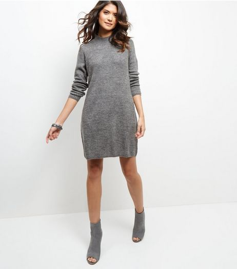 JDY Grey Funnel Neck Dress | New Look