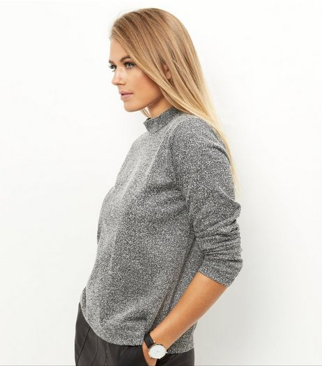 JDY Grey Funnel Neck Keyhole Back Sweater  | New Look