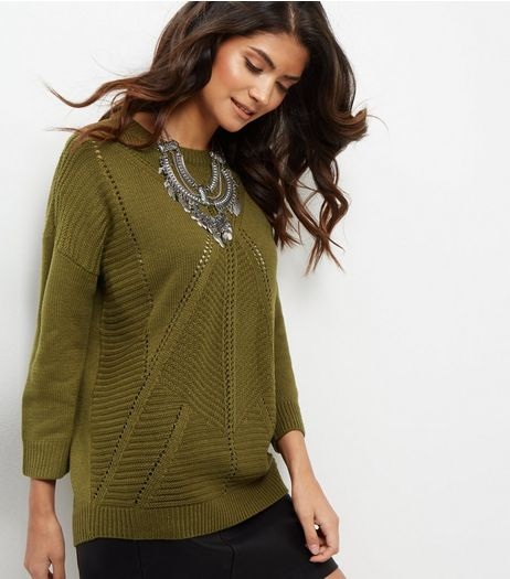 JDY Khaki Cut Out Trim Jumper | New Look