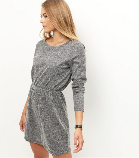 JDY Grey Metallic Cinched Waist Long Sleeve Dress | New Look