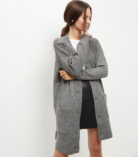 JDY Grey Longline Cardigan | New Look