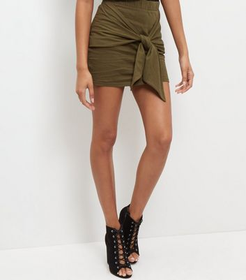 Gonna  donna JDY Olive Green Tie Front Mini Skirt