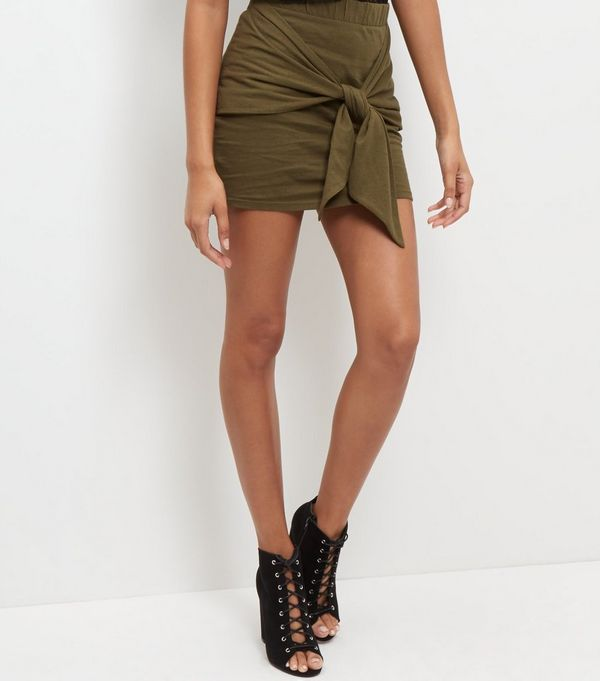 JDY Olive Green Tie Front Mini Skirt