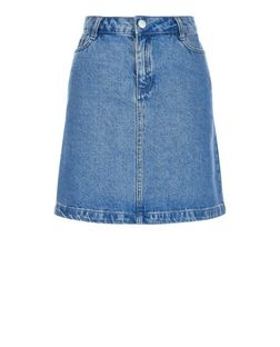 Blue A-Line Denim Skirt | New Look