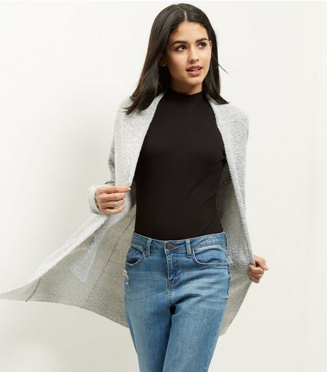 JDY Grey Open Front Longline Cardigan | New Look