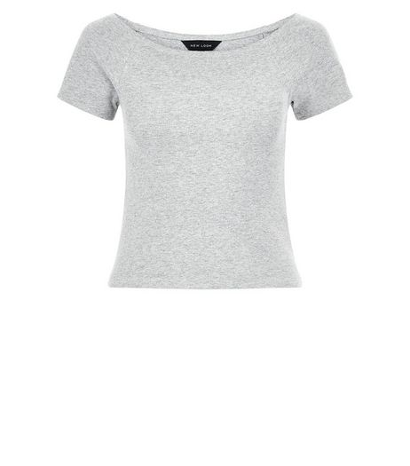 Grey Ribbed Bardot Neck Top  | New Look