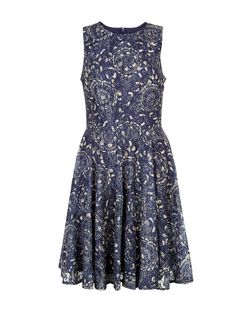 Blue Vanilla Blue Floral Print Lace Skater Dress | New Look