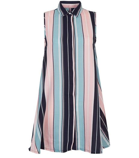 Blue Vanilla Pink Stripe Swing Shirt Dress | New Look