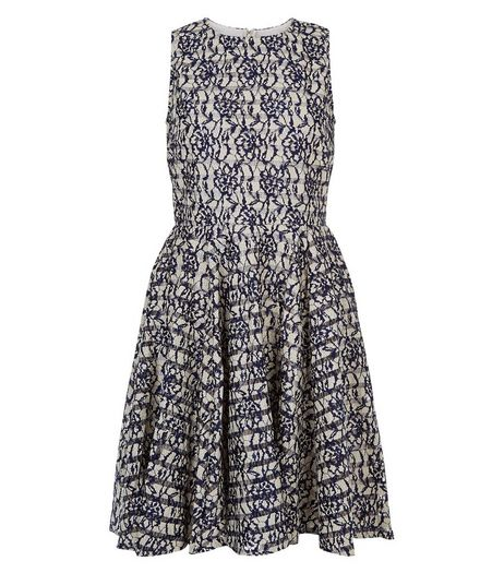 Blue Vanilla Blue Floral Lace Mesh Skater Dress | New Look