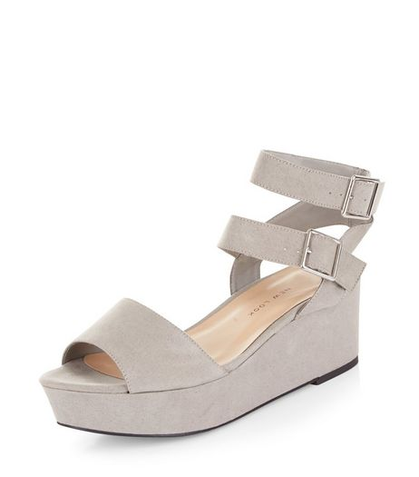 Teens Grey Double Strap Flatform Sandals | New Look