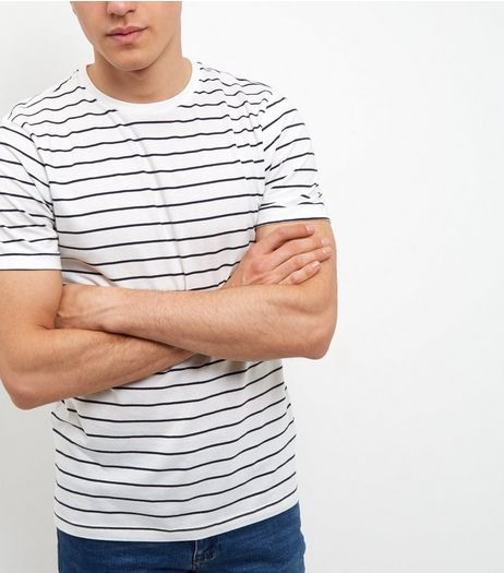 Cream Stripe T-Shirt | New Look