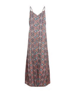 Orange Tile Print Split Front Slip Maxi Dress  | New Look