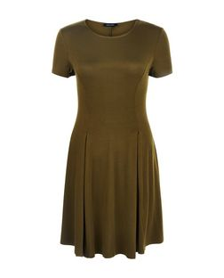 Khaki Cap Sleeve Swing Dress | New Look