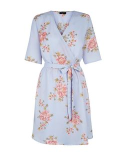 Tall Grey Floral Print Tie Waist Wrap Dress | New Look