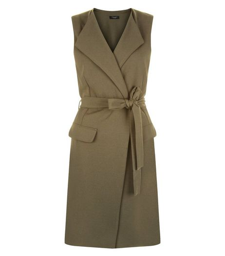 Petite Khaki Belted Sleeveless Jacket | New Look