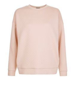 Shell Pink Quilted Sweater | New Look