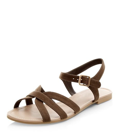 Teens Khaki Strappy Sandals | New Look