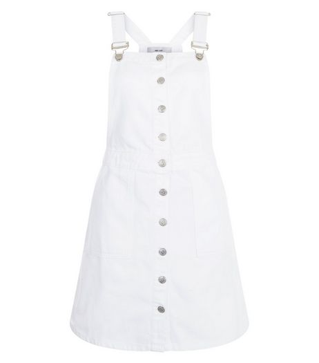 White Button Front Denim Pinafore Dress  | New Look