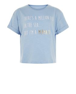 Teens Blue Mermaid Print Short Sleeve T-Shirt | New Look