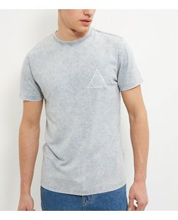 Grey Acid Wash Triangle Logo T-Shirt  | New Look