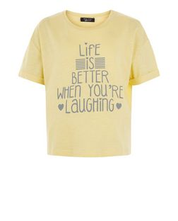 Teens Yellow Life Is Better Print Short Sleeve T-Shirt | New Look
