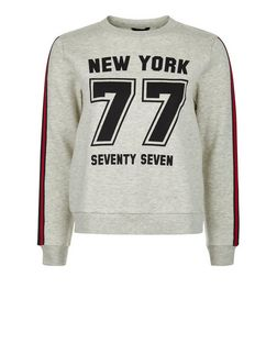Teens Grey New York 77 Print Tape Trim Sweater | New Look