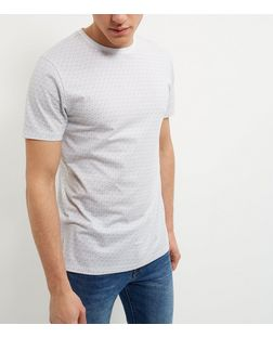 Grey Geo Print T-Shirt  | New Look