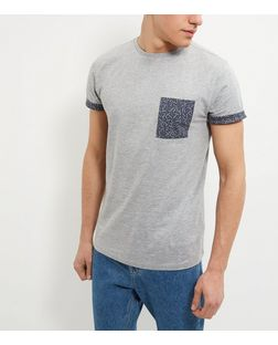Grey Dash Print Pocket Short Sleeve T-Shirt | New Look