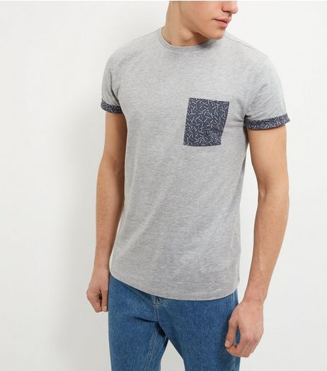 Grey Dash Print Pocket T-Shirt | New Look