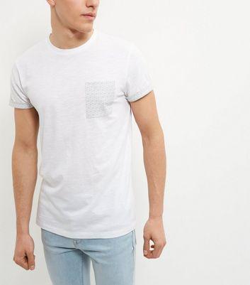 White Geo Print Pocket T-Shirt