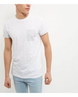 White Geo Print Pocket Short Sleeve T-Shirt | New Look