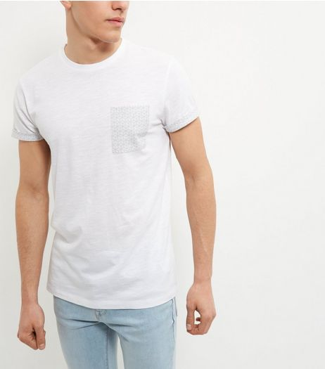 White Geo Print Pocket T-Shirt | New Look